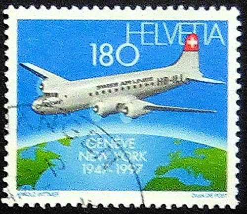 Swiss Air, Geneva New York 1947-1997, Aircraft -Handmade Framed Postage Stamp Art 20859AM