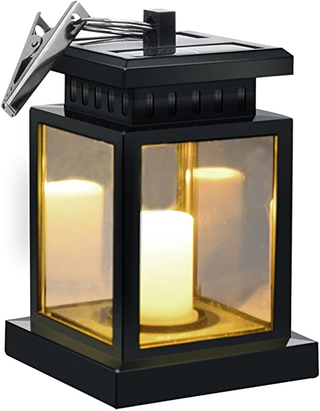 MakeABC Hanging Solar-Lights Powered LED Solar-Lantern Outdoor for Garden Patio Yard with Flickering Candle Lights Waterproof Set of 2