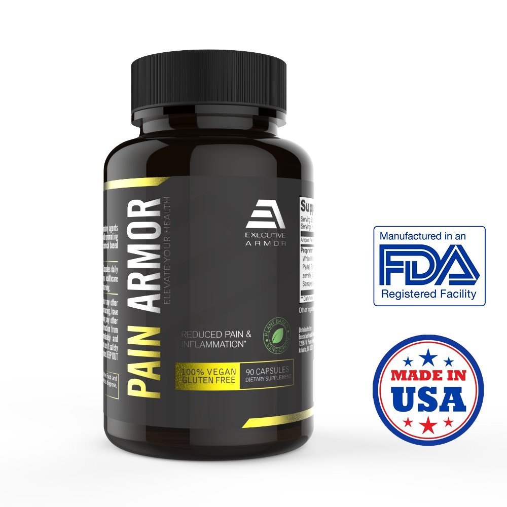 Pain Armor - Pain Relief Supplement by Executive Armor - Anti Inflammatory 6-in-1 Natural Formula - Turmeric, White Willow, Ginger, Boswellia, Skulllcap, Serrapeptase - Veggie Capsules (90 Count)