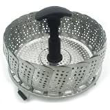 BakeWarePlus Vegetable Food Steamer Insert Collapsible Stainless Steel Basket Silver and Black with Extendable Handle for Various Size Pots