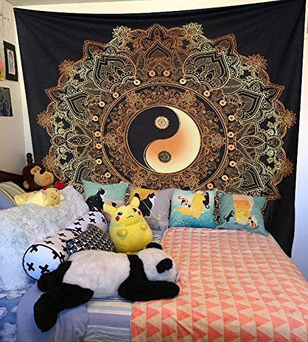 Mandala Tapestries Black and Gold Tapestry 84/×90Inches DBLX060 Indian Traditional Cotton Printed Bohemian Hippie Large Wall Art DBLLF Yinyang Wall Hanging Tapestry