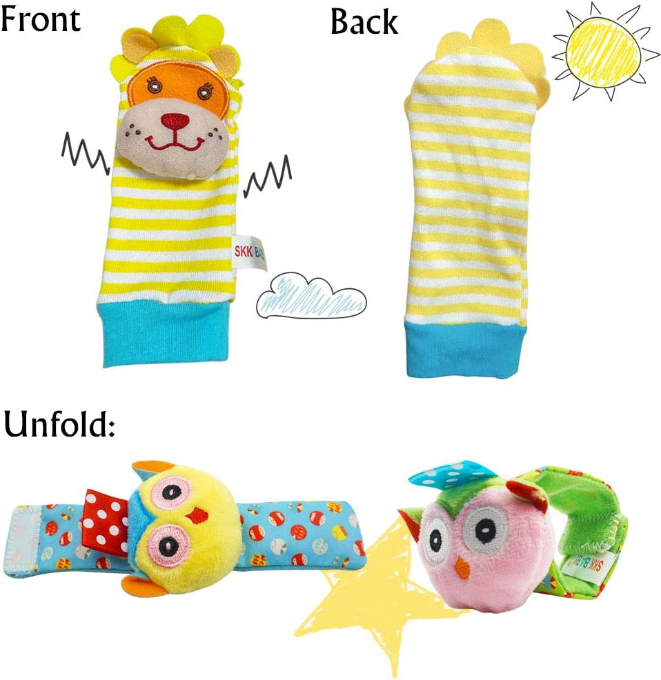 Daisy Baby Soft Plush 4 Animal Wrists Rattle and Foot Finder Socks Set Best Gift Early Educational Development Toy for Boys and Girls
