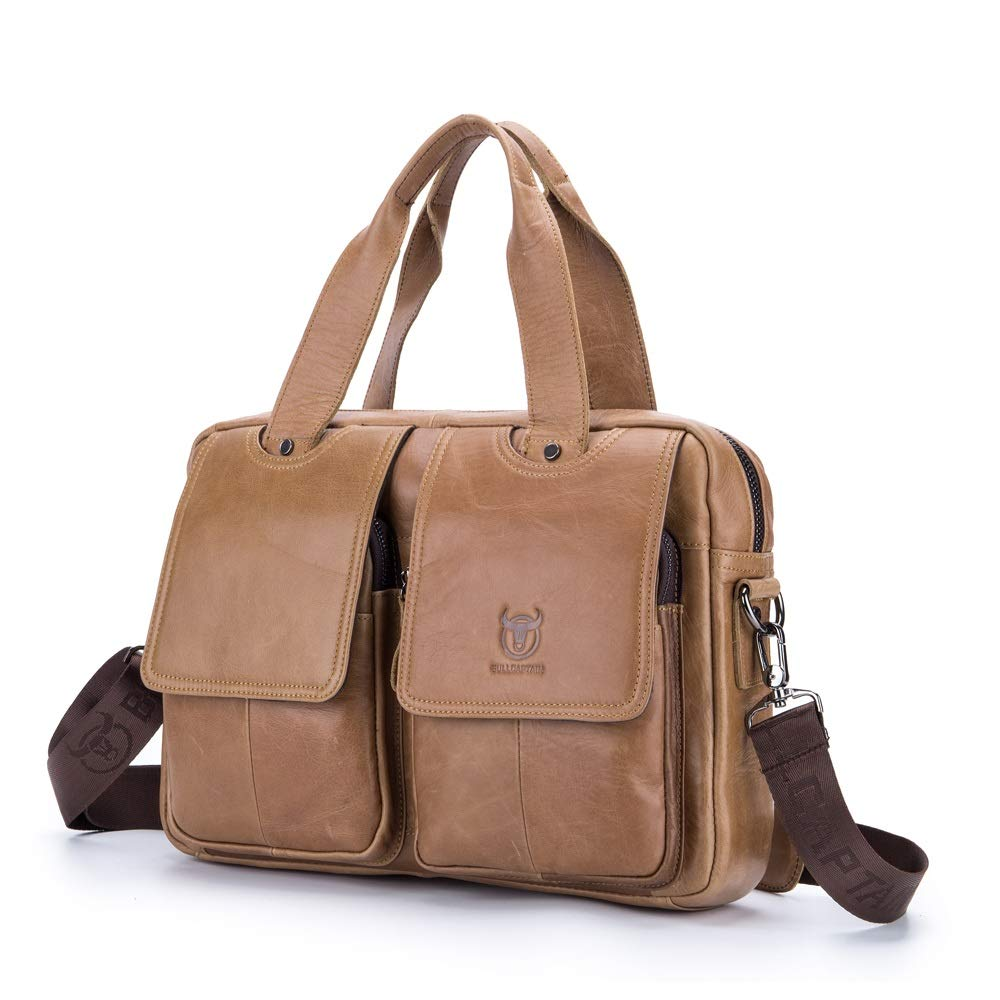 Color : Brass, Size : M Rouroumaoyi Mens Briefcase Leather Multi-Function Shoulder Crossbody First-Layer Leather Portable Briefcase