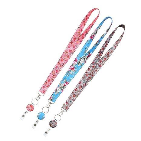 FOONEE 3 Unidades de Cordones para el Cuello para Llavero/Soporte de identificación, Bonito cordón con Soporte de identificación – Cinta de Tapiz con ...
