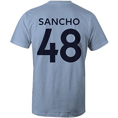 brand new 8538e a6815 Jadon Sancho 48 Club Player Style T-Shirt Sky/Navy: Amazon ...
