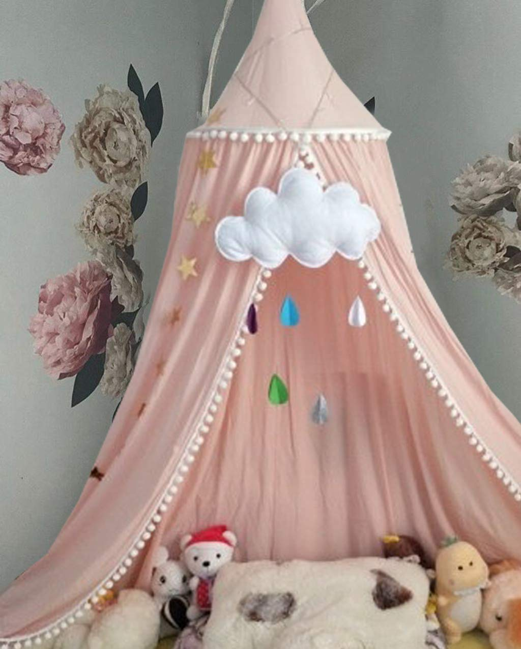 Bed Canopy for Girls Bed with Pom Pom, Cotton Dome Mosquito Net for Baby, Kids Indoor Outdoor Playing Reading, Bedroom Decoration (Pink) by OldPAPA