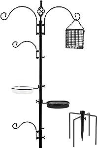 FEED GARDEN Deluxe Bird Feeding Station Kit, 92 Inch (84 Inch Above Ground), Multi Feeder Hanging Kit for Bird Watching, Bird Bath Bird Feeder Planter Hanger, 5 Prong Base