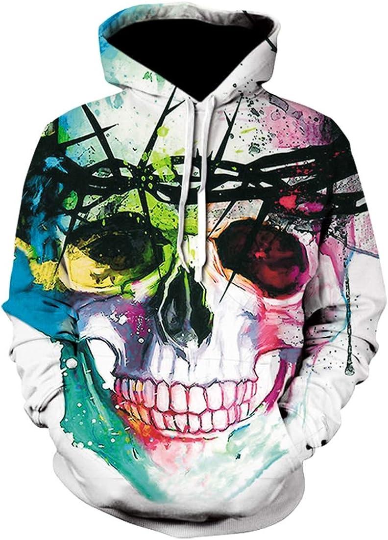 WSPLYSPJY Mens Fashion 3D Printed Sweatshirts Athletic Hoodies Pullover Hooded Sweatshirt