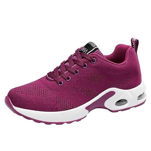 Zapatos planos deportes para mujer,Sonnena Zapatos respirables Zapatillas deportivas tejidas voladoras Zapatos con correa Casuals Zapatos de malla ...