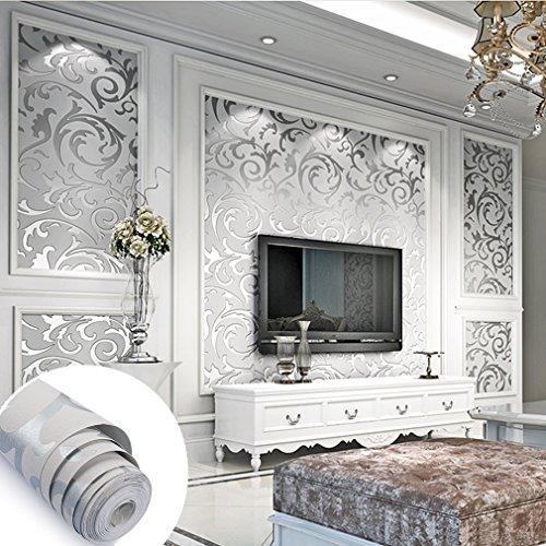 Aruhe® 10M Elegant Vliestapete Wand Tapete Wandtapete 3D Optik Design Silber