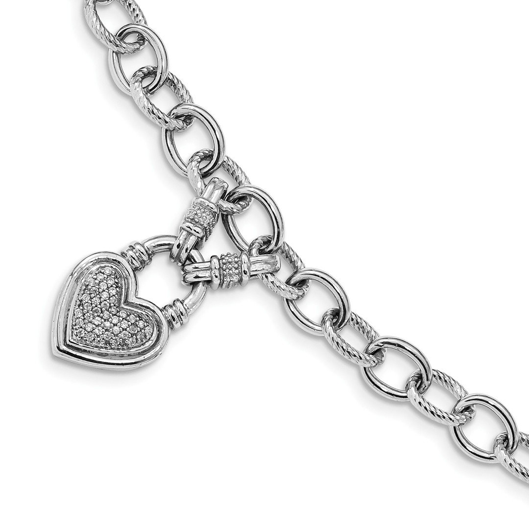 ICE CARATS 925 Sterling Silver Cubic Zirconia Cz Heart Dangle Toggle Bracelet 8 Inch /love Link Fine Jewelry Gift Set For Women Heart