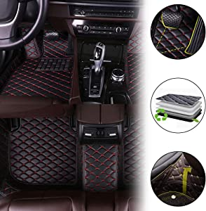 All Weather Protection Custom Floor Mats for Land Rover Range Rover Sport(Has Computer case) 2010-2013 Waterproof Heavy Duty Front and Rear Rows Full Set Car Carpets Leather Liner Black & Red 1 Set