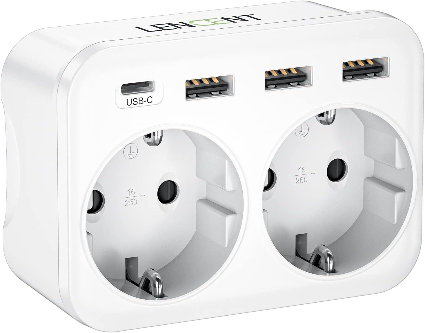 LENCENT Ladron Enchufes, Cargador USB de Pared con 2 Toma de CA, 1 Puerto Tipo C y 3 Puertos USB, Adaptador Enchufe USB España para Smartphone Tableta 4000W