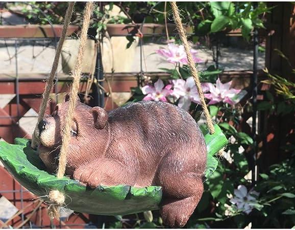 ZYHJAMA Columpio Animal decoración Perro Resina simulación Conejo Rana Oso jardín Estatua decoración Exterior jardín Colgante: Amazon.es: Hogar