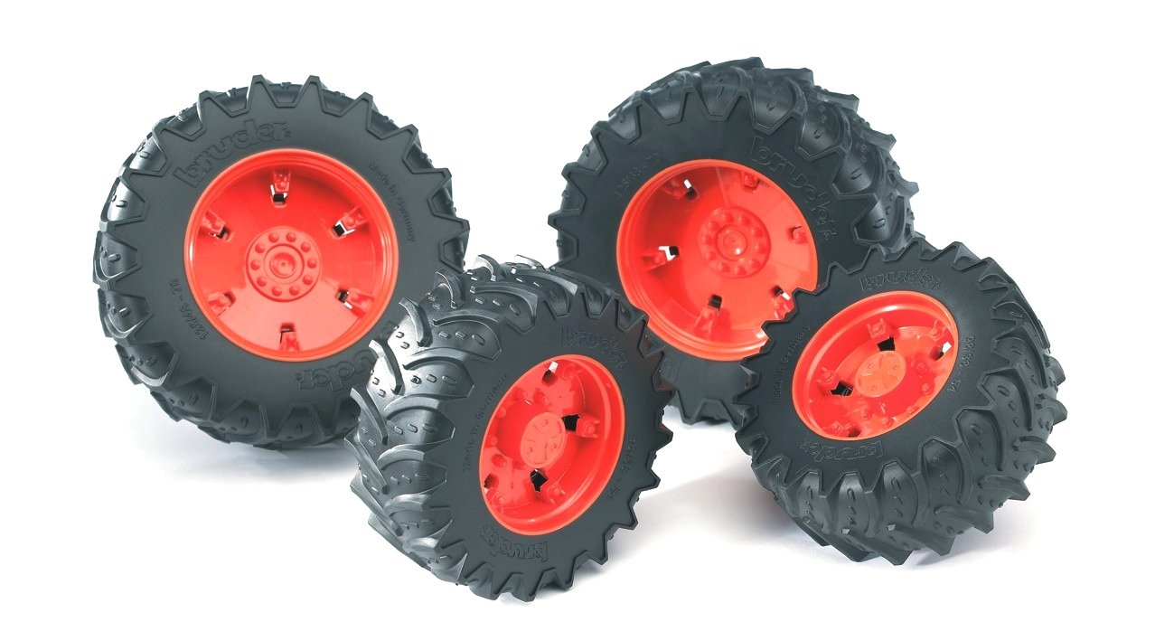 Red Bruder Accessories Twin Tyre Set with Rims