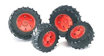 Bruder 03302 - Ruedas gemelas con naranja llantas para tractores de la Serie 0300