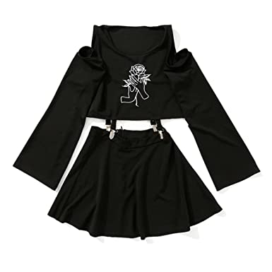 c818beb10d2 Amazon.com: pfpeng Women 2 Piece Suit Sets Embroidered Long Sleeve Crew  Neck T-Shirt Tees Tops Skirt Suits Dress: Clothing