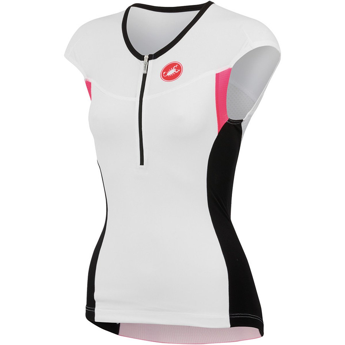 Castelli Free Tri Capsleeve Top - Women's White/Black/Pink, S
