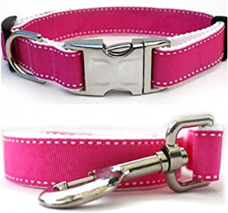 "product image for Diva-Dog 'Preppy Pink' Custom 5/8"" Wide Dog Collar with Plain or Engraved Buckle, Matching Leash Available - Teacup, XS/S"
