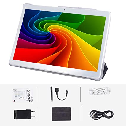 Android 7.0 3G, tableta de 4 GB + 64 GB, tableta Android con pantalla IPS HD de 10.0 pulgadas, con 2 ranuras para tarjetas SIM, Quad Core, 1.3 GHz, ...