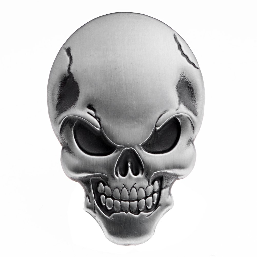 Amazon com 3d chrome silver skull demon bone emblem decal sticker fairing fender motorcycle sport bike automotive