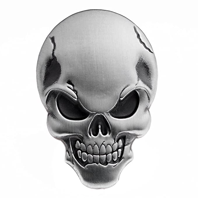 Astra Depot 1 x 3d Chrome Silver Skull Demon Bone emblema adhesivo carenado Fender Motociclismo bicicleta: Amazon.es: Coche y moto
