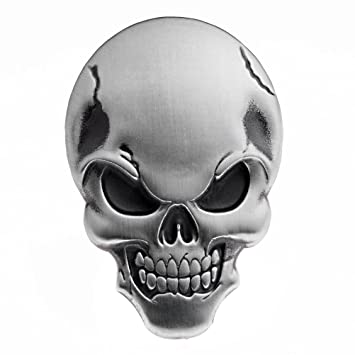 1x metal 3d skull demon bone badge emblem sticker decal decoration tank fender fairing for harley