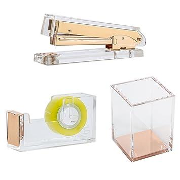 Draymond historia acrílico suministros de oficina Bundle 1) grapadora 1) soporte de lápiz 1) papelería de escritorio dispensador de cinta (): Amazon.es: ...