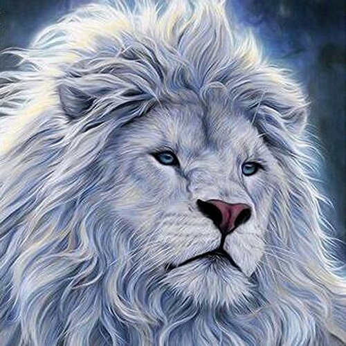 Fineser DIY 5D White Lion Diamond Painting By Number Kits, Rhinestone Embroidery Masaic Cross Stitch Arts Craft Home Wall Decor (30x30cm)