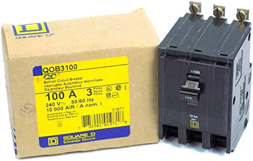Square D QOB3100 Circuit Breaker QOB Standard, 100A, 3-Pole, 240 Vac, 3-Phase, Bolt-On, Black