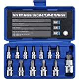 "Renekton Torx Star Bit Socket Set,1/2"" 3/8"" 1/4"" Drive,T8 - T70,Cr-V Steel,13 Pieces"