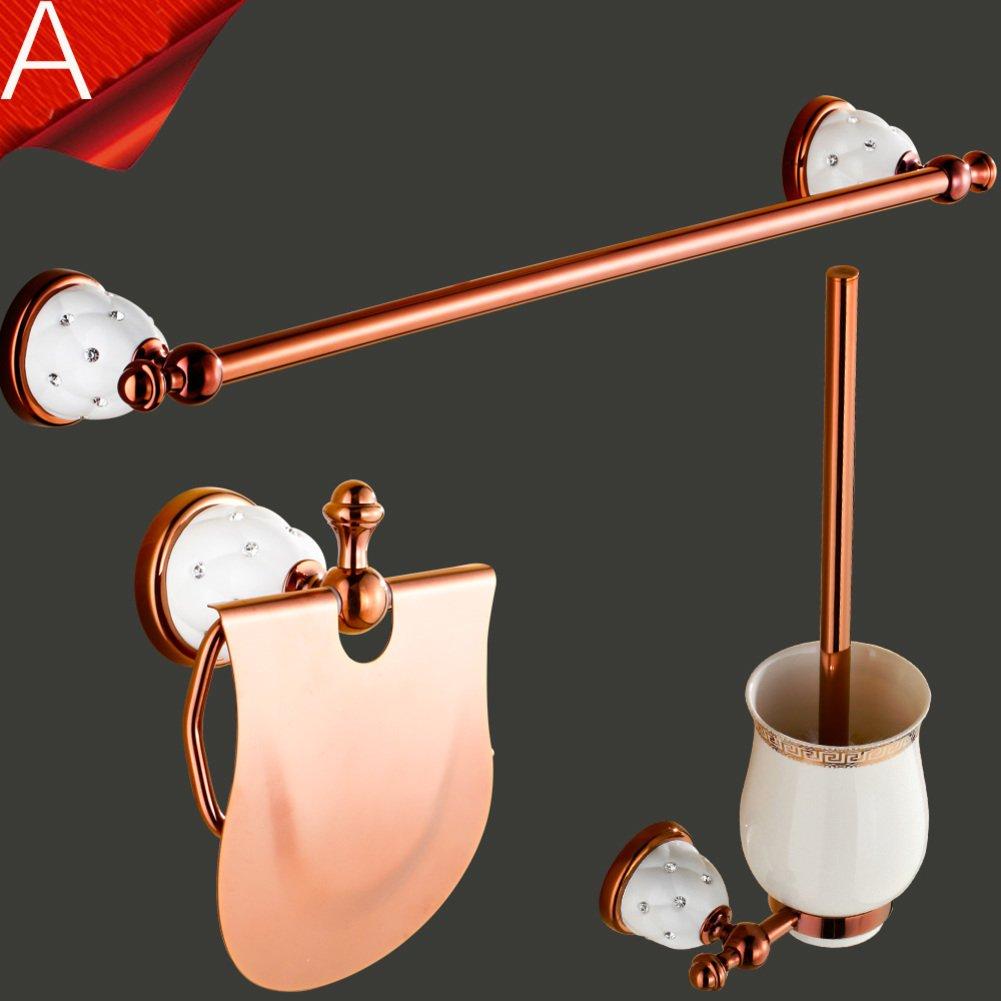 hot sale Continental copper bathroom holder/rose gold Towel rack/Bathroom double Towel rack/Bathroom racks/hardware pendant-A