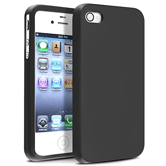 insten soft black silicone rubber case compatible with iphone 4 4s 4g 4gs g
