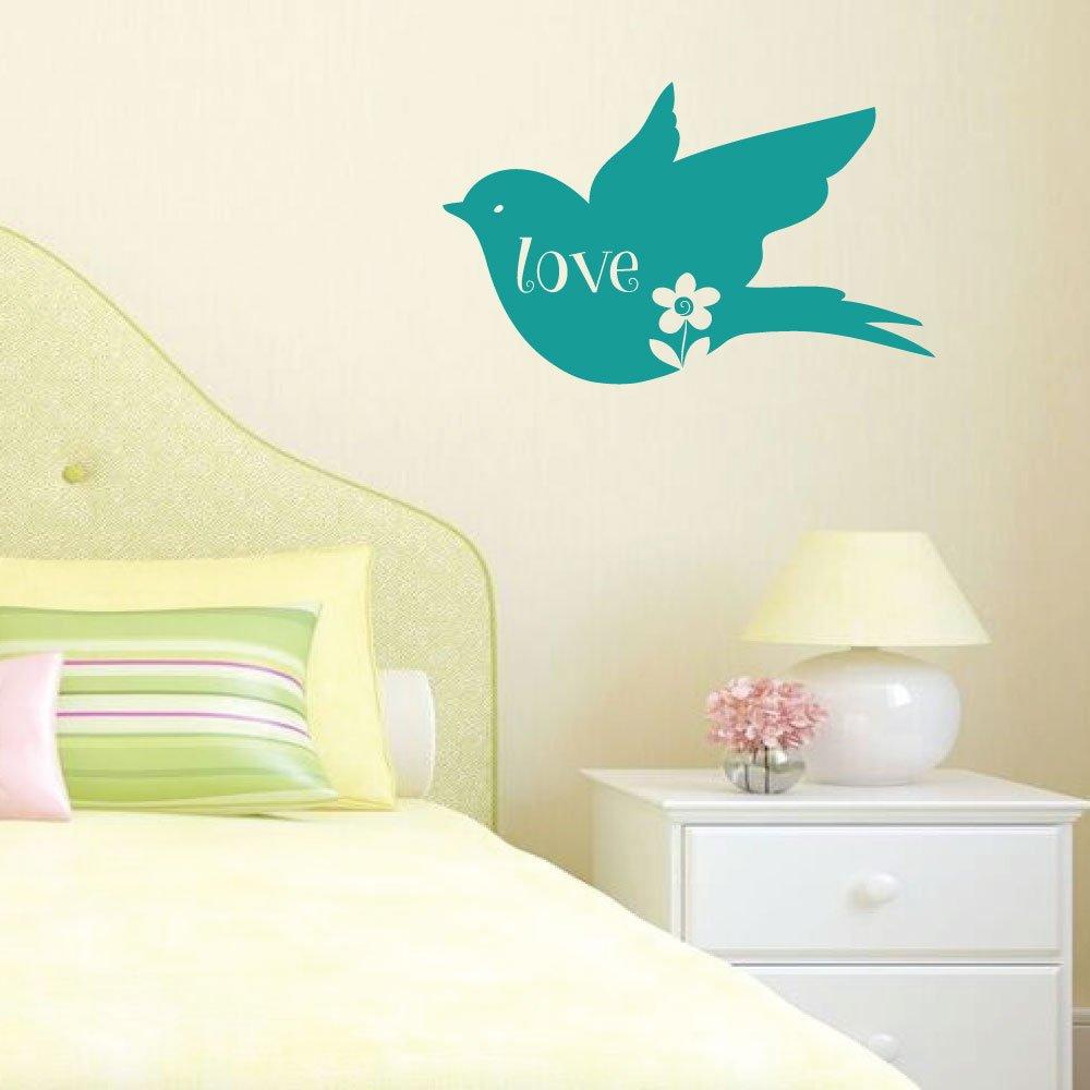 Amazon.com: Love Bird Wall Decor - Flower Vinyl Sticker Art ...