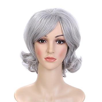 BeautyWig Gris Corto Rizado Peluca Mullido Astilla Elegante Glueless Sintético Cabello por Mujer abuela Fiesta Cosplay