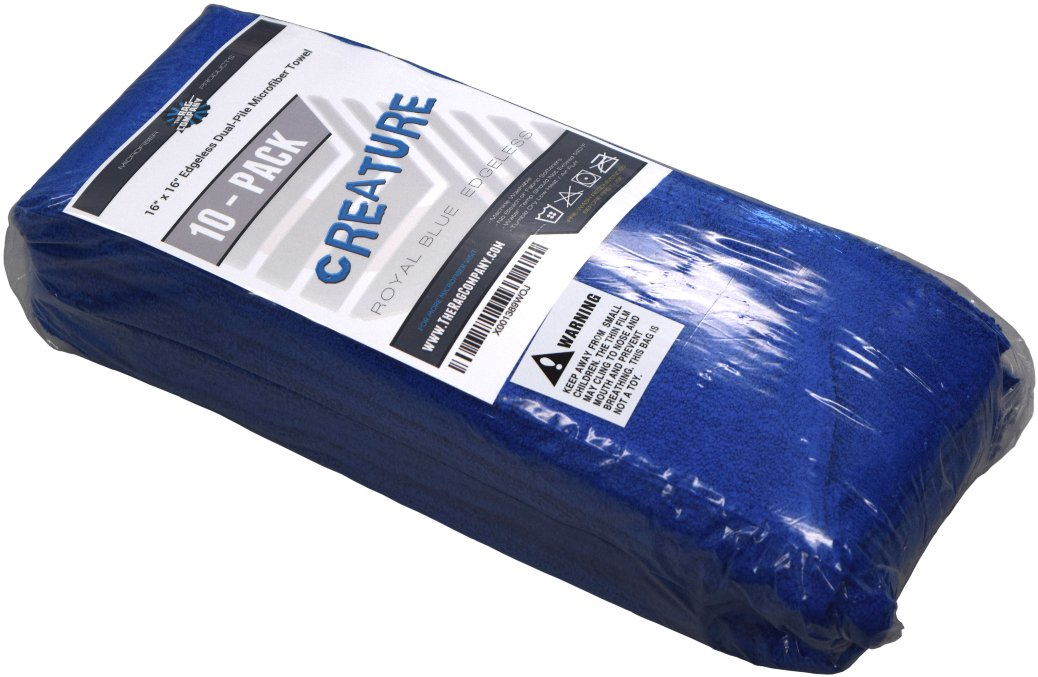 THE RAG COMPANY (10-Pack) 16 in. x 16 in. Professional Edgeless 70/30 Blend 420 GSM Dual-Pile Plush Microfiber Auto Detailing Towels Creature Edgeless (Royal Blue) by THE RAG COMPANY (Image #1)
