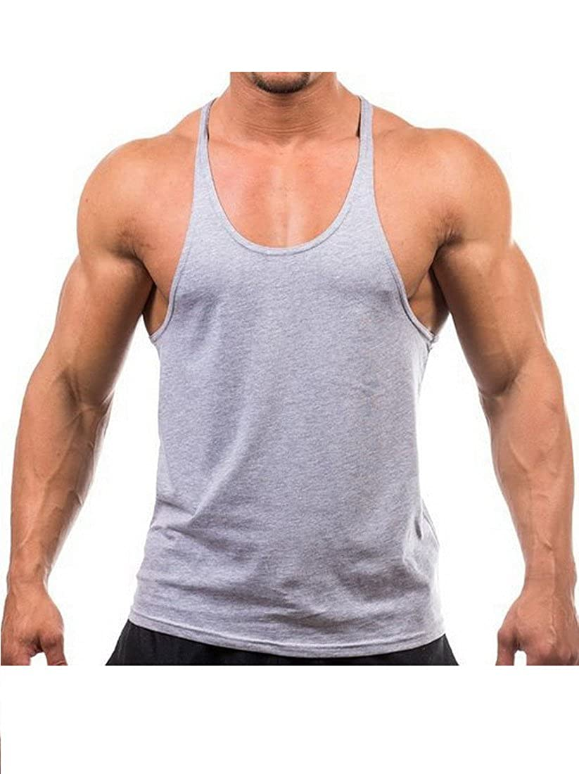 Mens Stringer Gym Tank Top Shirt Print Cotton Bodybuilding Sport Vest