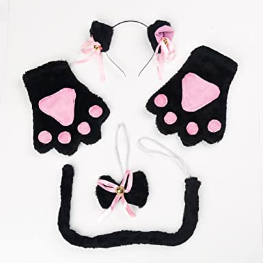 Cat Cosplay Costume 4Pcs Cosplay Cat Kitten Tail Ears Set Collar Paws Gloves Lolita Gothic Halloween