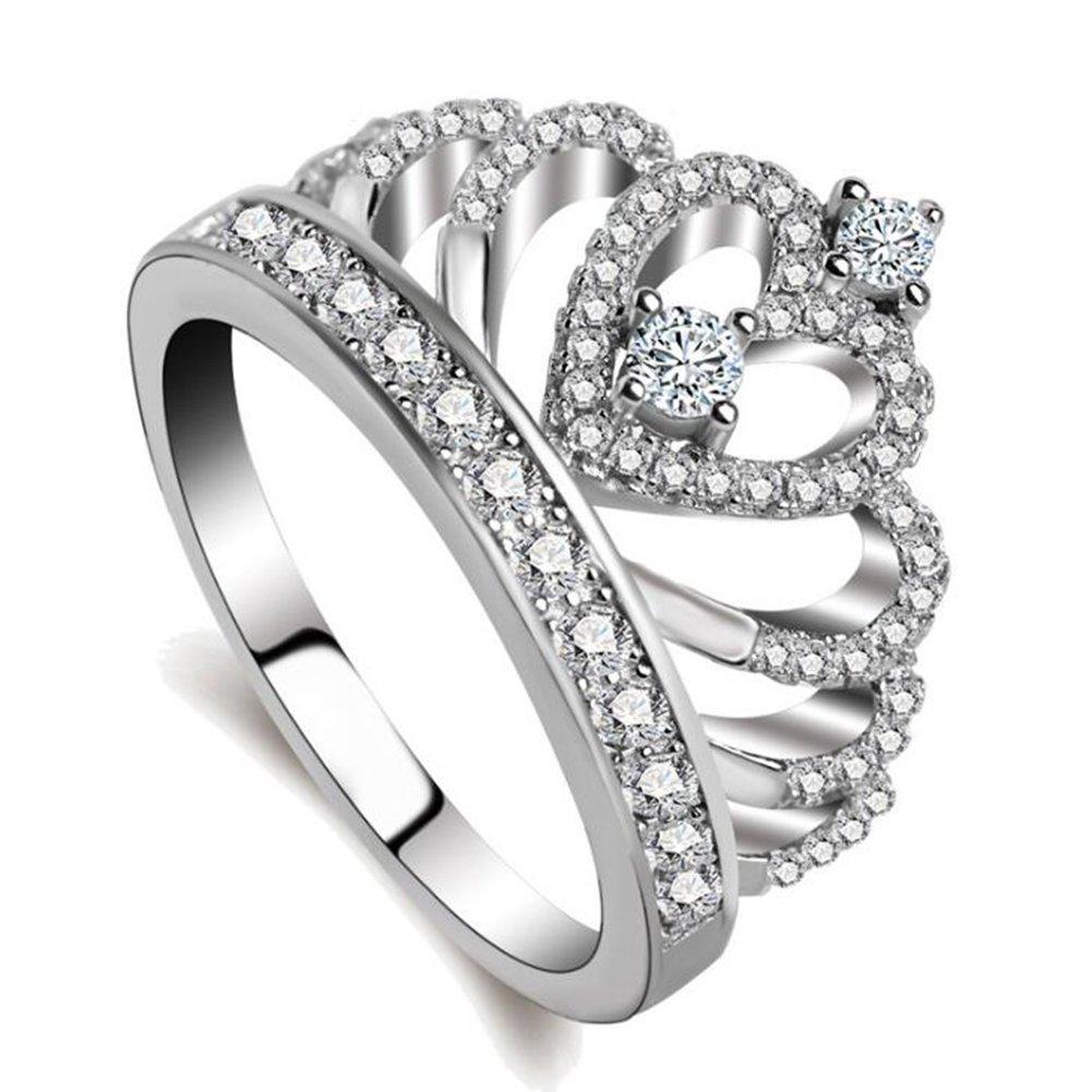 Impression 1Pcs Anneaux Bague en forme de couronne de forage anneau de diamant de mode anneau de cristal Girl Accessoires de la bijouterie jour de la Saint Valentin Cadeaux de mariage anneau ouvert Silver YXYP YXFR186