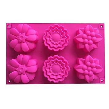 OUNONA El molde de silicona de 6 cavidades florece las tazas del mollete moldes de jabón ...