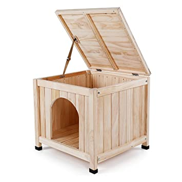 HYXI-Camas Caseta de Madera Maciza para Interiores Perro pequeño Cama para Mascotas Casa del Gato - Color Madera / 50x50x47.5cm: Amazon.es: Productos para ...