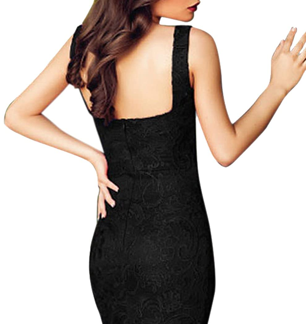 Bestime Womens Black Lace Push-up Bodycon Dress Size M: Amazon.co.uk: Clothing