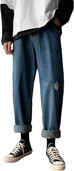 Alppvワイドパンツ メンズ ジーンズ 春 夏 メンズ デニムパンツ 9分丈 ワイド ストレート 無地 ジーンズ ロングパンツ ファッション カジュアル 通勤 通学 ズボン
