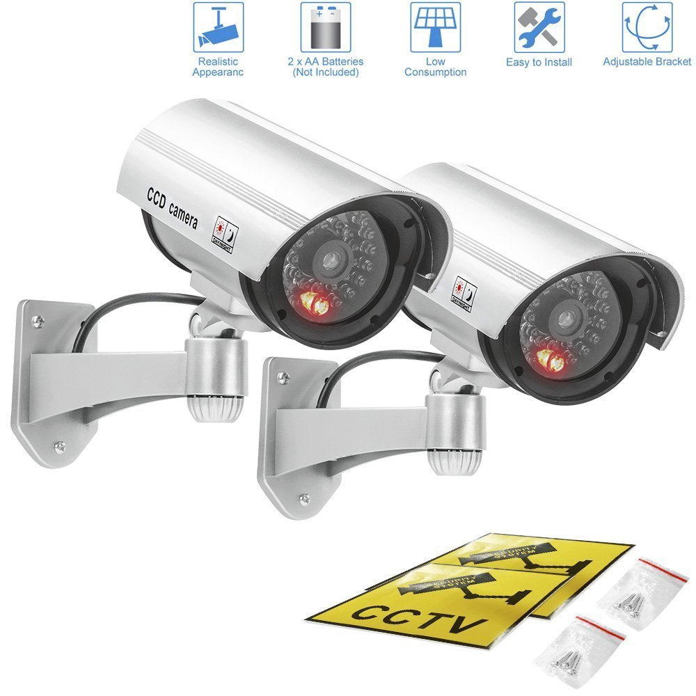 Fake camera,Outdoor & Indoor Fake/Dummy Security Camera w/Flashing Red Light For Night,Bullet CCTV Surveillance System With Realistic Look Recording LEDs 2 pack (Silver)