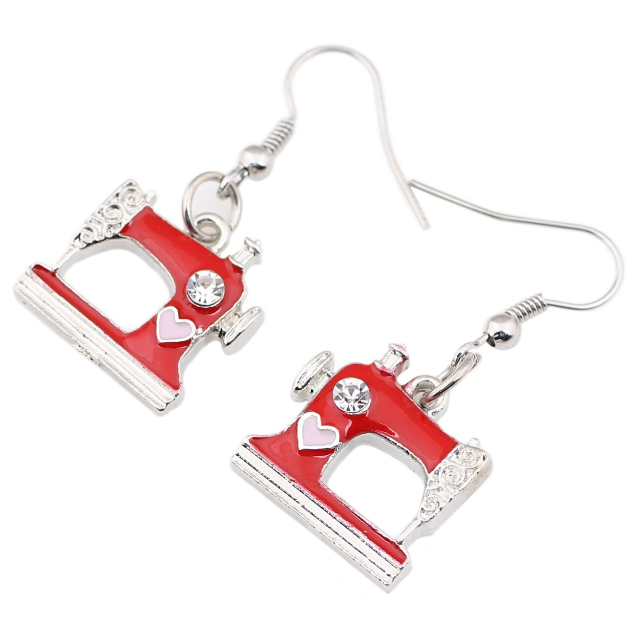 NEWEI Enamel Alloy Drop Dangle Cute Sewing Machine Earrings Fashion Tools Jewelry For Women Girls Gift Decoration Charms