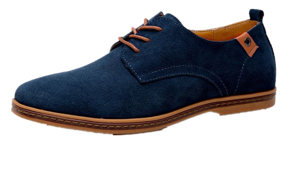 UPWalker Men's Suede Leather Classic Shoes Casual Driving Oxfords Navy