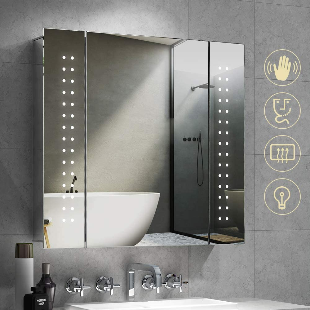 Quavikey LED Illuminated Bathroom Mirror Cabinet Aluminum Bathroom Mirrored Cabinet Wall Mounted With Shaver Socket Demister 650 x 600mm For Makeup Cosmetic Shaver Charging
