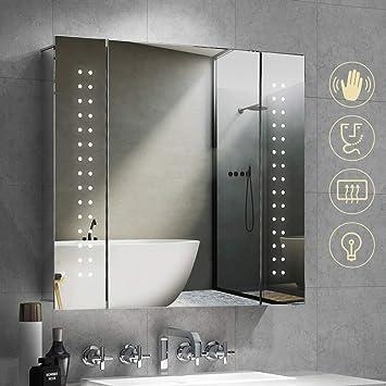 Quavikey Badschrank LED beleuchtet Badezimmerspiegelschrank Aluminium  Badezimmerspiegel mit Rasiersockel Demister-Pad IR Sensor Spiegelschrank  für ...