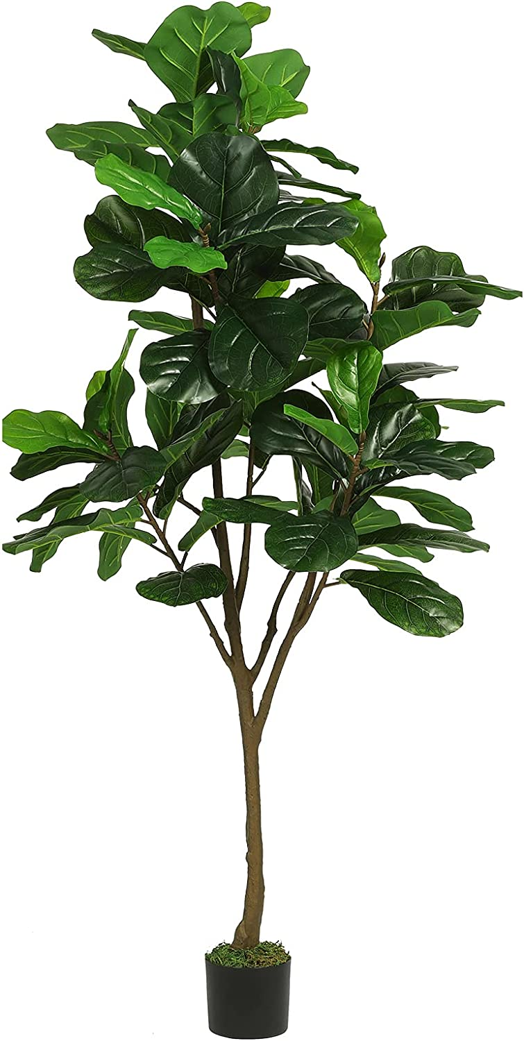 VIAGDO Artificial Fiddle Leaf Fig Tree 6ft Tall 86 Decorative Faux Fiddle Leaves Fake Fig Silk Tree in Pot Artificial Tree for Home Office Living Room Bathroom Corner Decor Indoor