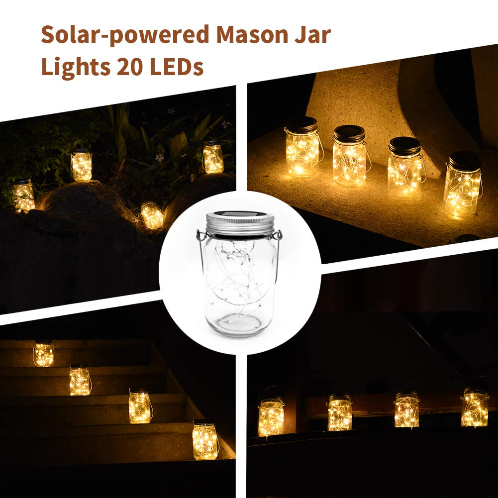 4 Pack Warm White XDW-GIFTS Mason Jar Lights Solar Powered Fairy Lantern Lights Waterproof 20 Bulbs Decorative Hanging Jar Lights for Garden Home Wedding Party Holiday